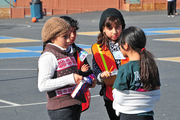 From left, Magdalena Macias, and peer mediators Samantha Gonzales and Esmeralda Macias, in orange, listen to both sides carefully in a lunchtime discussion at Virginia Rocca Barton Elementary School in Salinas.